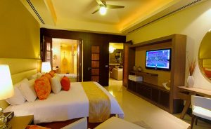King size bed and TV and private bath