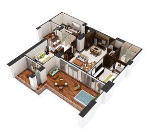 Floor plan of 2 bedroom Luxxe condo unit